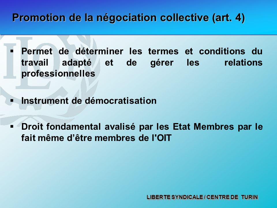 LIBERTE SYNDICALE / CENTRE DE TURIN Promotion de la négociation collective (art.