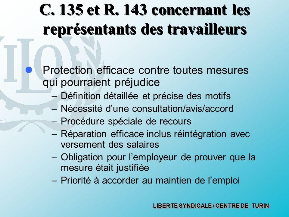 LIBERTE SYNDICALE / CENTRE DE TURIN C. 135 et R.