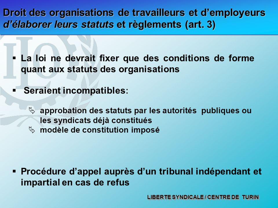 LIBERTE SYNDICALE / CENTRE DE TURIN Droit des organisations de travailleurs et demployeurs délaborer leurs statuts et règlements (art.