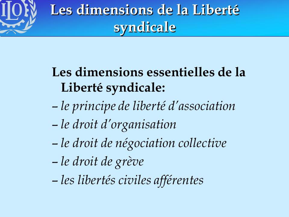 Les dimensions de la Liberté syndicale Les dimensions essentielles de la Liberté syndicale: – le principe de liberté dassociation – le droit dorganisa
