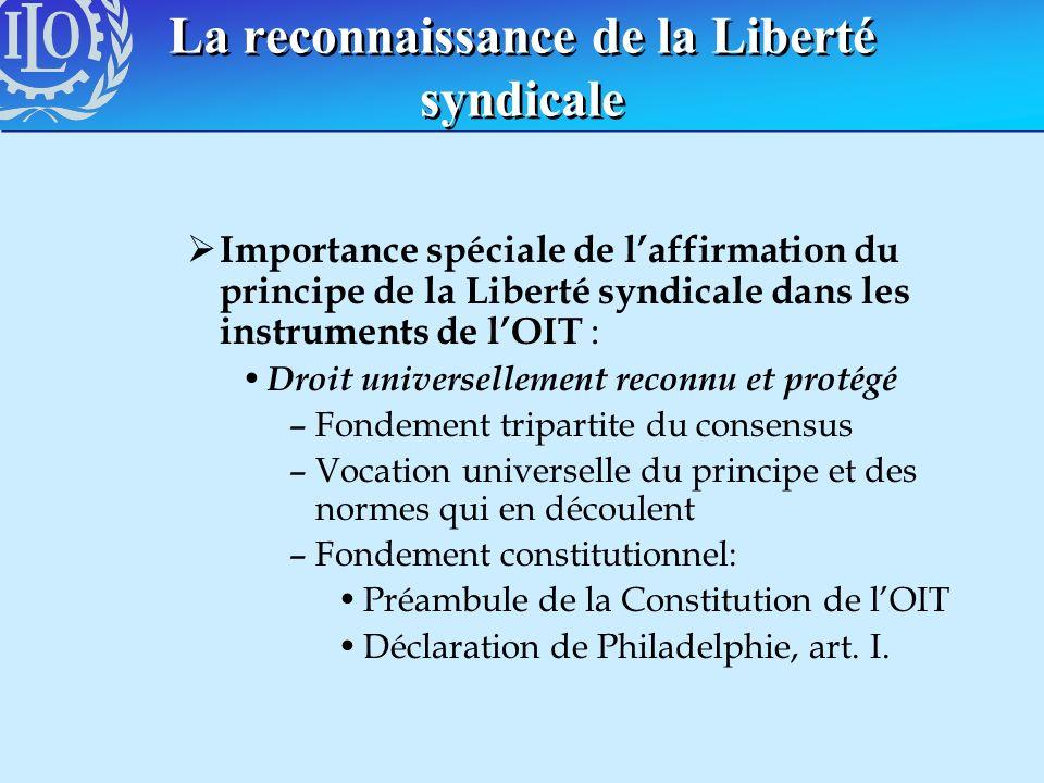 La reconnaissance de la Liberté syndicale Importance spéciale de laffirmation du principe de la Liberté syndicale dans les instruments de lOIT : Droit
