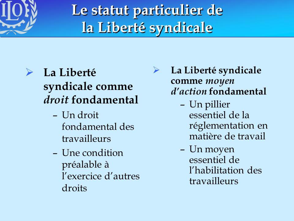 Le statut particulier de la Liberté syndicale La Liberté syndicale comme droit fondamental –Un droit fondamental des travailleurs –Une condition préal