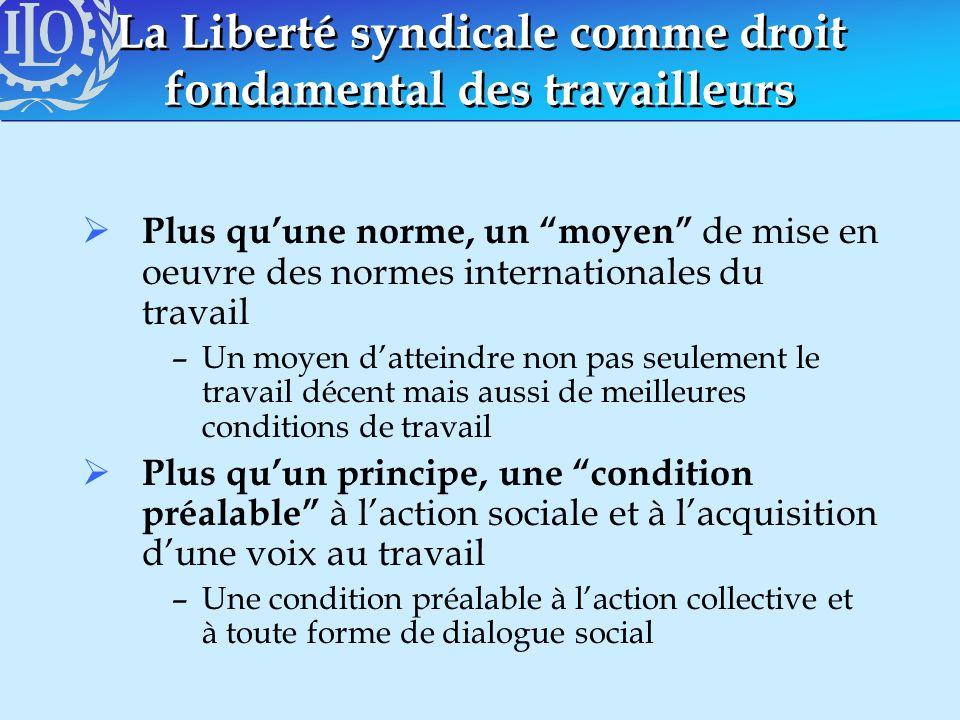 La Liberté syndicale comme droit fondamental des travailleurs Plus quune norme, un moyen de mise en oeuvre des normes internationales du travail –Un m