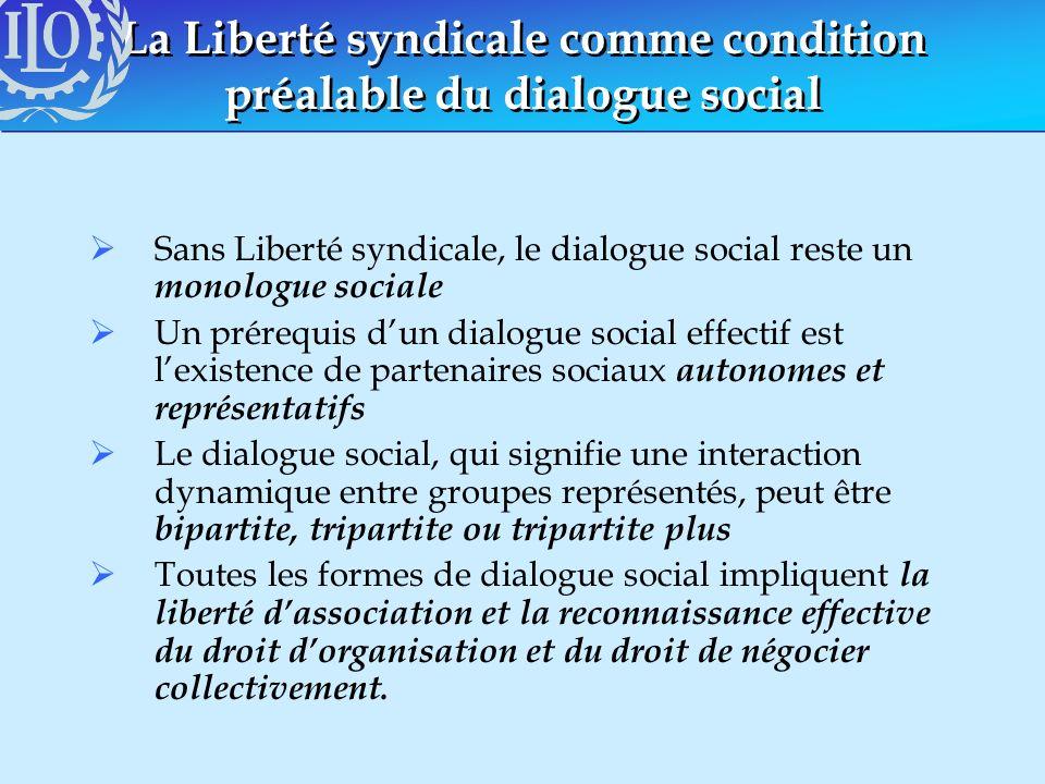 La Liberté syndicale comme condition préalable du dialogue social Sans Liberté syndicale, le dialogue social reste un monologue sociale Un prérequis d