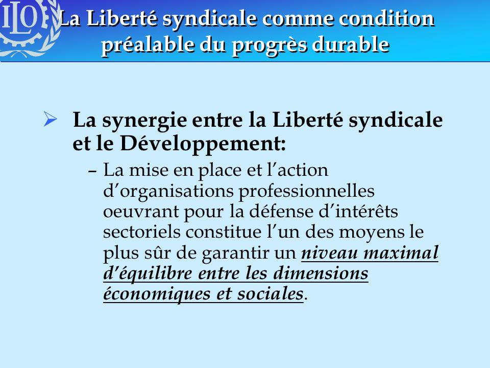 La Liberté syndicale comme condition préalable du progrès durable La synergie entre la Liberté syndicale et le Développement: –La mise en place et lac