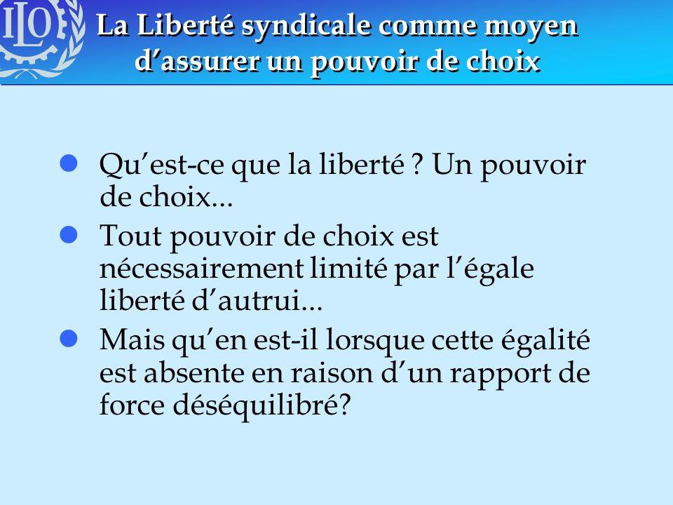 La Liberté syndicale comme moyen dassurer un pouvoir de choix lQuest-ce que la liberté ? Un pouvoir de choix... lTout pouvoir de choix est nécessairem