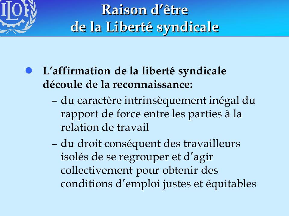 Raison dêtre de la Liberté syndicale l Laffirmation de la liberté syndicale découle de la reconnaissance: –du caractère intrinsèquement inégal du rapp