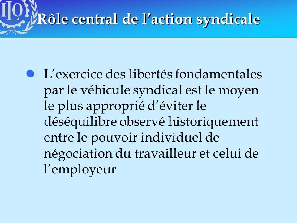 Rôle central de laction syndicale lLexercice des libertés fondamentales par le véhicule syndical est le moyen le plus approprié déviter le déséquilibr