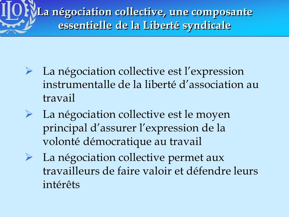 La négociation collective, une composante essentielle de la Liberté syndicale La négociation collective est lexpression instrumentalle de la liberté d