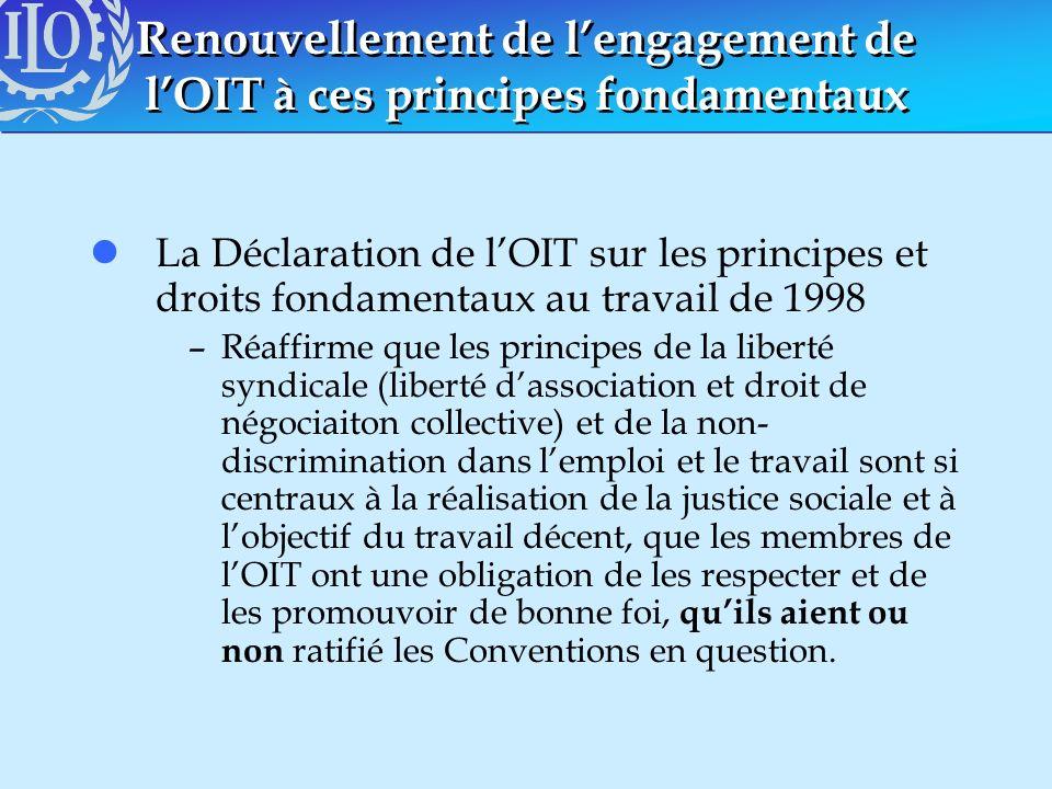 Renouvellement de lengagement de lOIT à ces principes fondamentaux lLa Déclaration de lOIT sur les principes et droits fondamentaux au travail de 1998