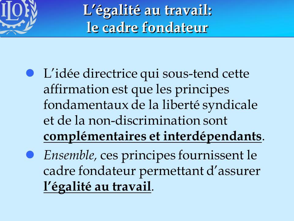 Légalité au travail: le cadre fondateur lLidée directrice qui sous-tend cette affirmation est que les principes fondamentaux de la liberté syndicale e