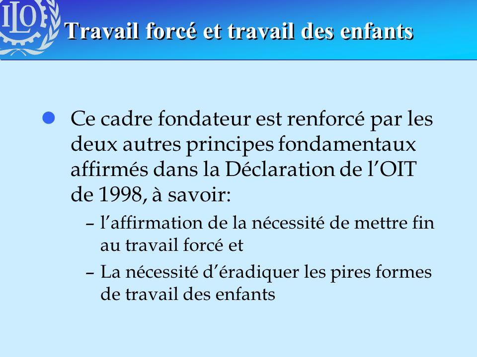 Travail forcé et travail des enfants lCe cadre fondateur est renforcé par les deux autres principes fondamentaux affirmés dans la Déclaration de lOIT