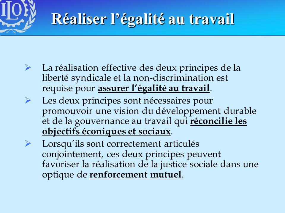 Réaliser légalité au travail La réalisation effective des deux principes de la liberté syndicale et la non-discrimination est requise pour assurer lég