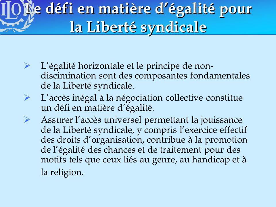 Le défi en matière dégalité pour la Liberté syndicale Légalité horizontale et le principe de non- discimination sont des composantes fondamentales de
