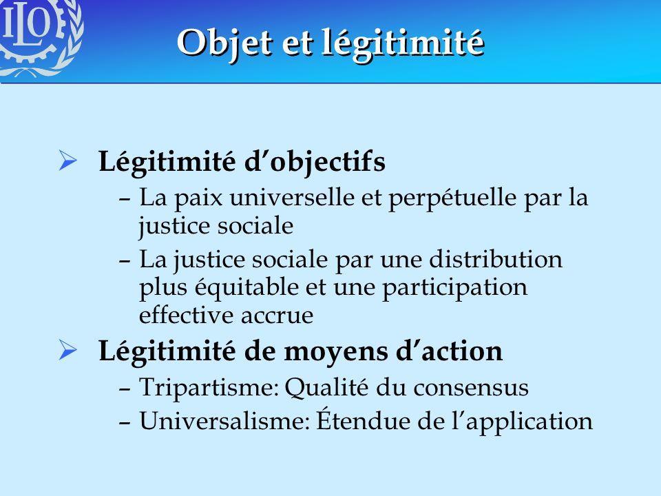 Objet et légitimité Légitimité dobjectifs –La paix universelle et perpétuelle par la justice sociale –La justice sociale par une distribution plus équ