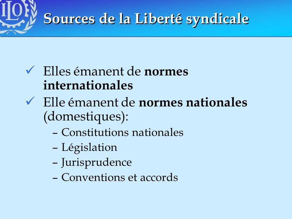 Sources de la Liberté syndicale Elles émanent de normes internationales Elle émanent de normes nationales (domestiques): –Constitutions nationales –Lé