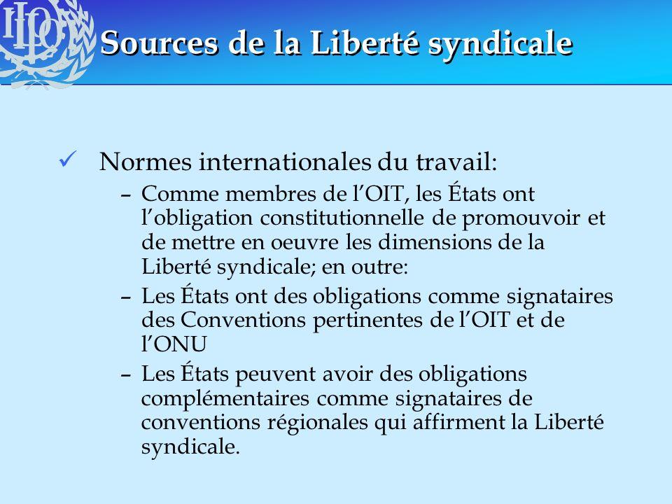 Sources de la Liberté syndicale Normes internationales du travail: –Comme membres de lOIT, les États ont lobligation constitutionnelle de promouvoir e