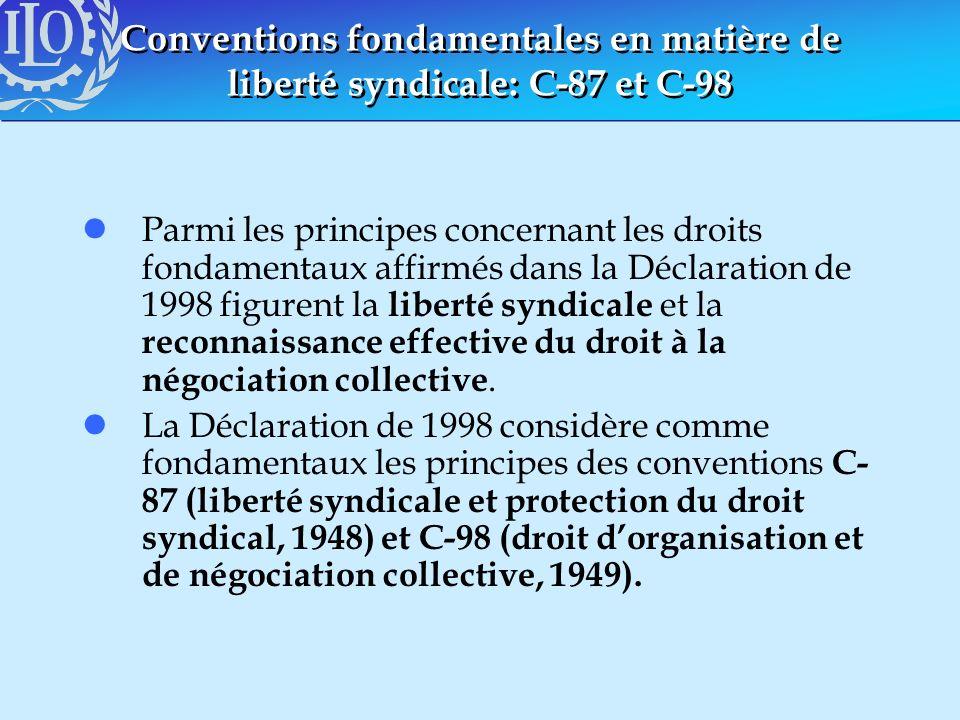 Conventions fondamentales en matière de liberté syndicale: C-87 et C-98 lParmi les principes concernant les droits fondamentaux affirmés dans la Décla