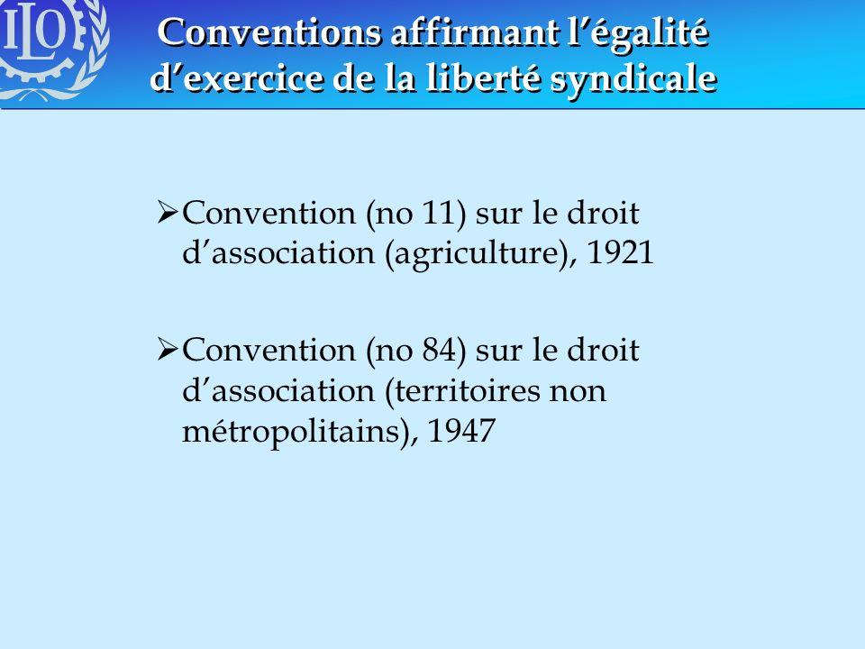 Conventions affirmant légalité dexercice de la liberté syndicale Convention (no 11) sur le droit dassociation (agriculture), 1921 Convention (no 84) s
