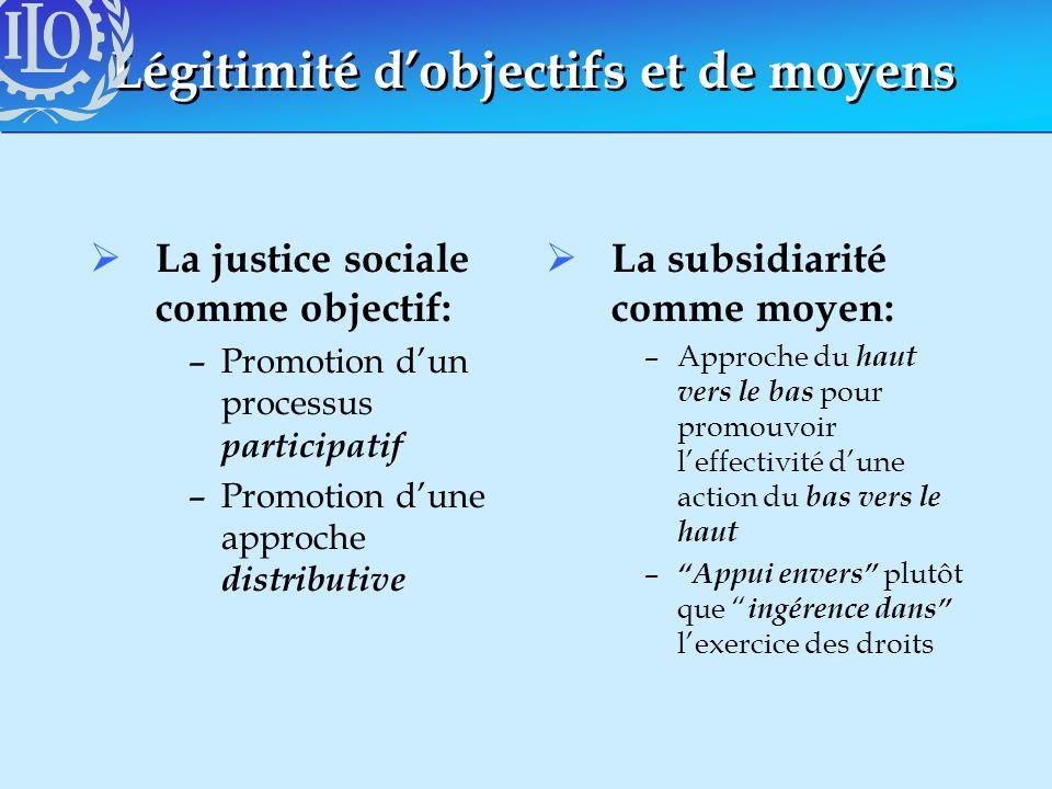 Légitimité dobjectifs et de moyens La justice sociale comme objectif: –Promotion dun processus participatif –Promotion dune approche distributive La s