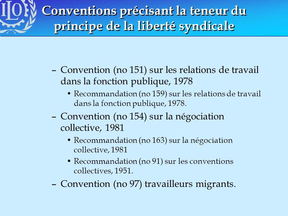 Conventions précisant la teneur du principe de la liberté syndicale –Convention (no 151) sur les relations de travail dans la fonction publique, 1978
