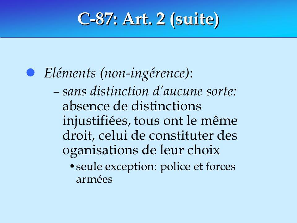 C-87: Art. 2 (suite) l Eléments (non-ingérence) : – sans distinction daucune sorte: absence de distinctions injustifiées, tous ont le même droit, celu