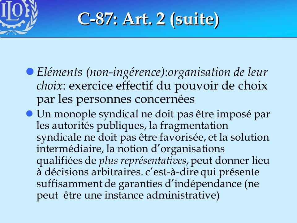 C-87: Art. 2 (suite) l Eléments (non-ingérence) : organisation de leur choix : exercice effectif du pouvoir de choix par les personnes concernées lUn