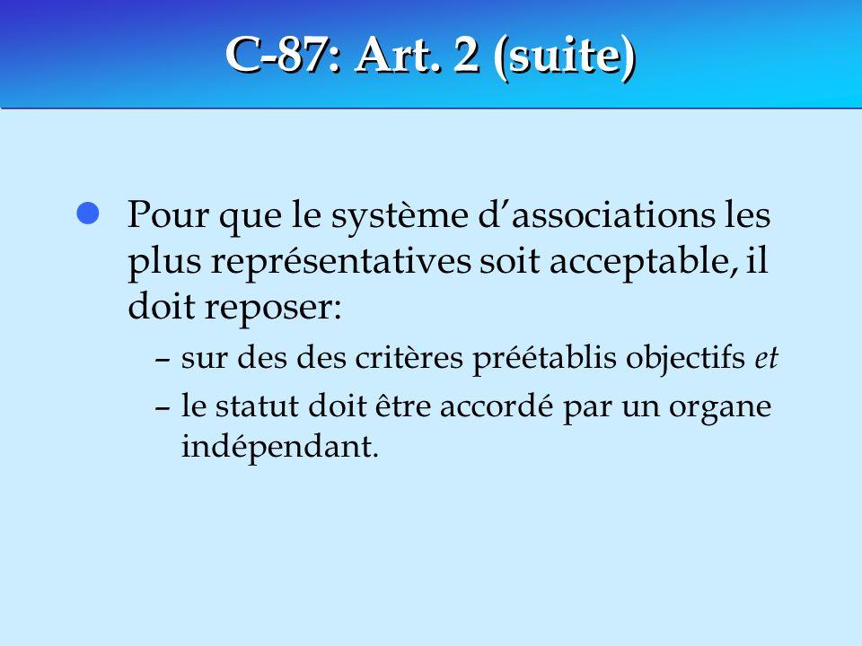 C-87: Art. 2 (suite) lPour que le système dassociations les plus représentatives soit acceptable, il doit reposer: –sur des des critères préétablis ob