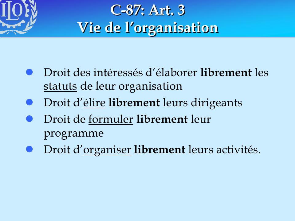 C-87: Art. 3 Vie de lorganisation lDroit des intéressés délaborer librement les statuts de leur organisation lDroit délire librement leurs dirigeants