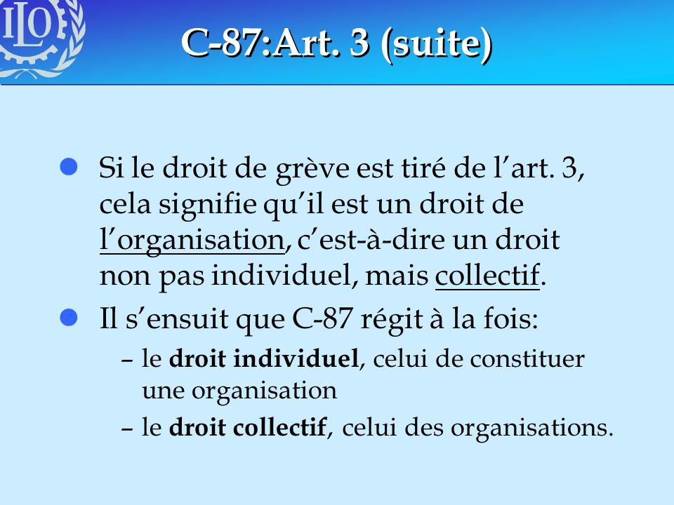C-87:Art. 3 (suite) lSi le droit de grève est tiré de lart. 3, cela signifie quil est un droit de lorganisation, cest-à-dire un droit non pas individu