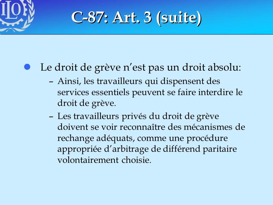 C-87: Art. 3 (suite) lLe droit de grève nest pas un droit absolu: –Ainsi, les travailleurs qui dispensent des services essentiels peuvent se faire int