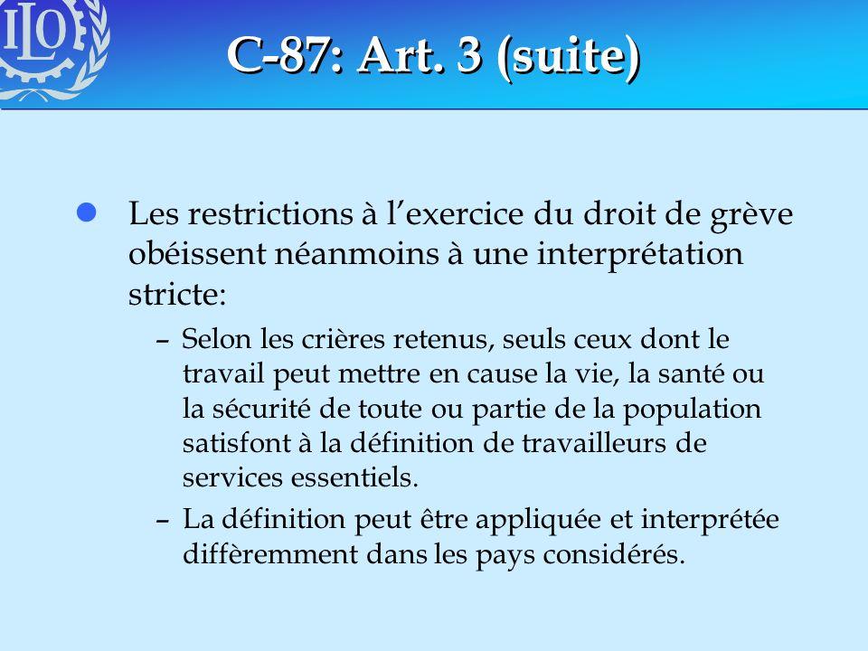 C-87: Art. 3 (suite) lLes restrictions à lexercice du droit de grève obéissent néanmoins à une interprétation stricte: –Selon les crières retenus, seu