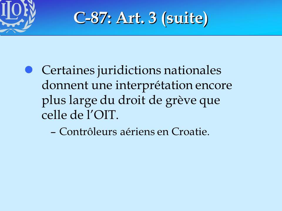 C-87: Art. 3 (suite) lCertaines juridictions nationales donnent une interprétation encore plus large du droit de grève que celle de lOIT. –Contrôleurs