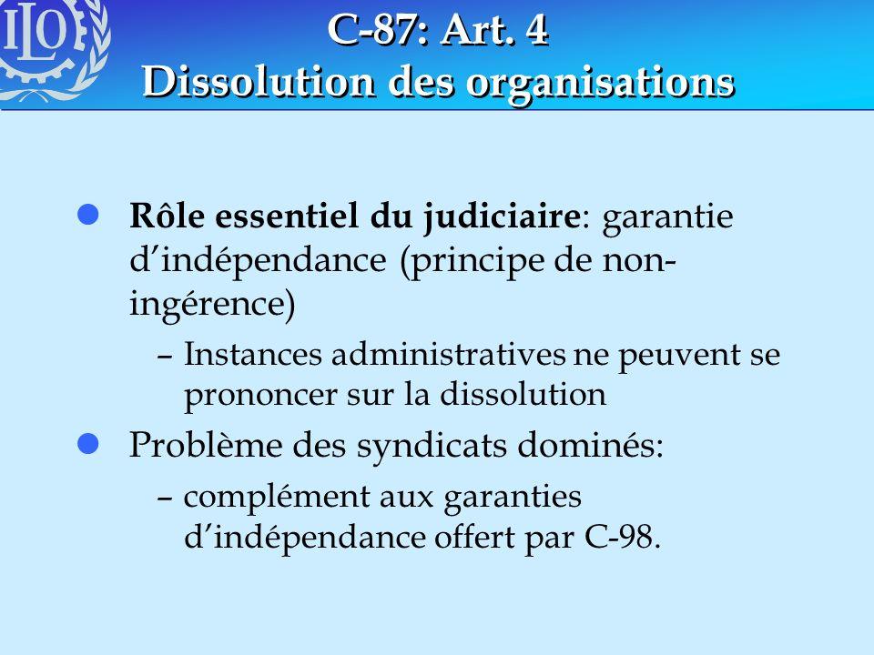 C-87: Art. 4 Dissolution des organisations l Rôle essentiel du judiciaire : garantie dindépendance (principe de non- ingérence) –Instances administrat