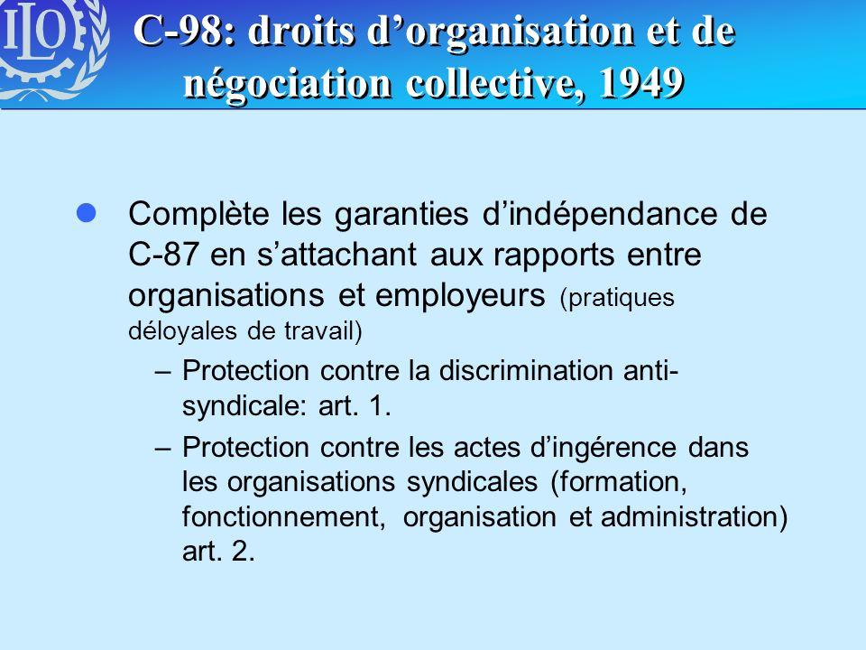 C-98: droits dorganisation et de négociation collective, 1949 lComplète les garanties dindépendance de C-87 en sattachant aux rapports entre organisat