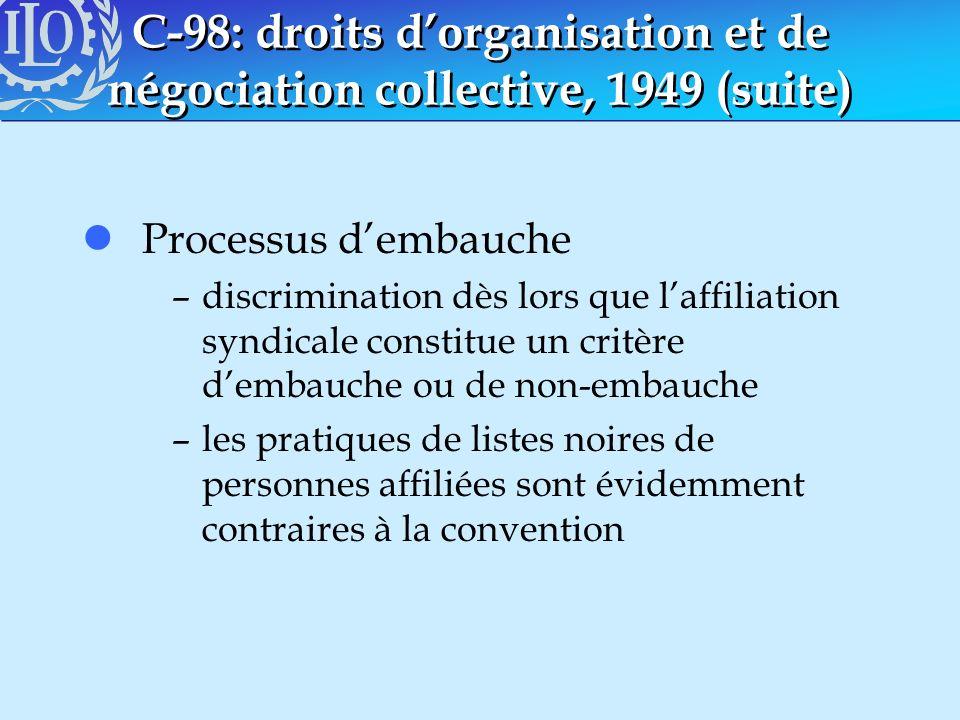 C-98: droits dorganisation et de négociation collective, 1949 (suite) lProcessus dembauche –discrimination dès lors que laffiliation syndicale constit