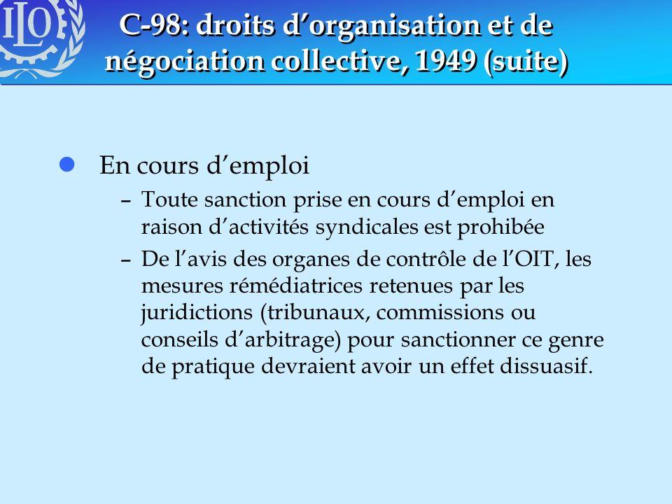 C-98: droits dorganisation et de négociation collective, 1949 (suite) lEn cours demploi –Toute sanction prise en cours demploi en raison dactivités sy
