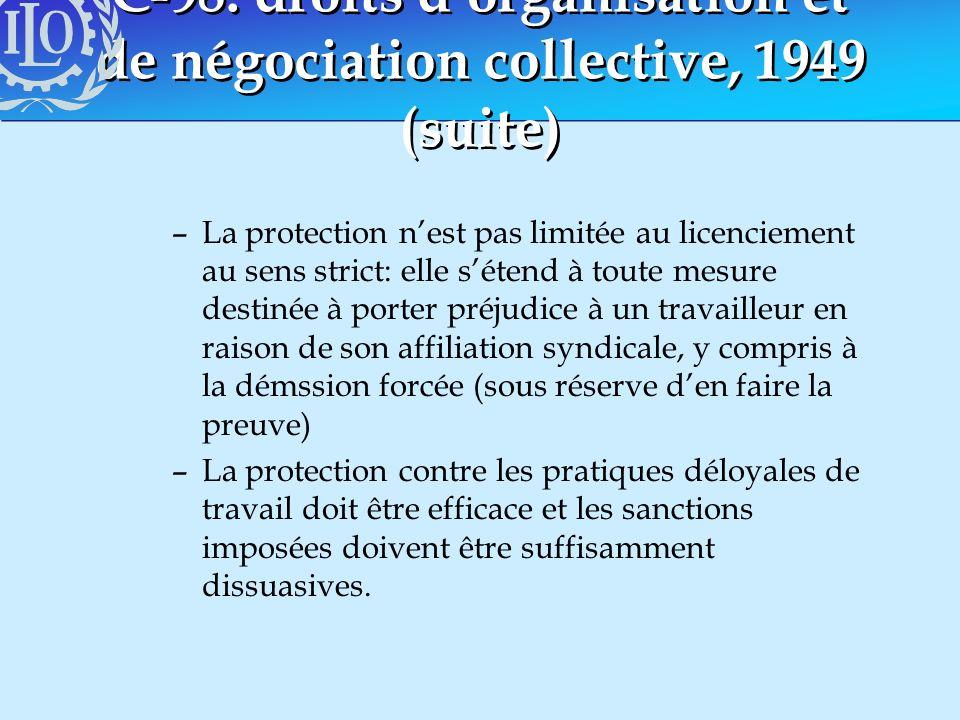 C-98: droits dorganisation et de négociation collective, 1949 (suite) –La protection nest pas limitée au licenciement au sens strict: elle sétend à to