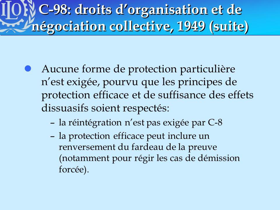 C-98: droits dorganisation et de négociation collective, 1949 (suite) lAucune forme de protection particulière nest exigée, pourvu que les principes d