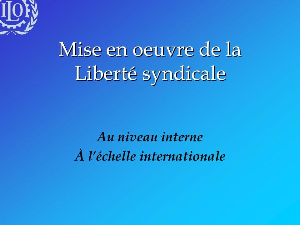 Mise en oeuvre de la Liberté syndicale Au niveau interne À léchelle internationale