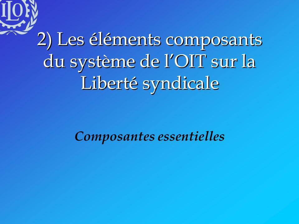 Les composantes du système de lOIT en matière de Liberté syndicale Contenu Principes fondamentaux Normes internationales du travail (NIT) Mise en oeuvre Infrastructure institutionnelle (mécanismes) Pratiques et procédures (processus)