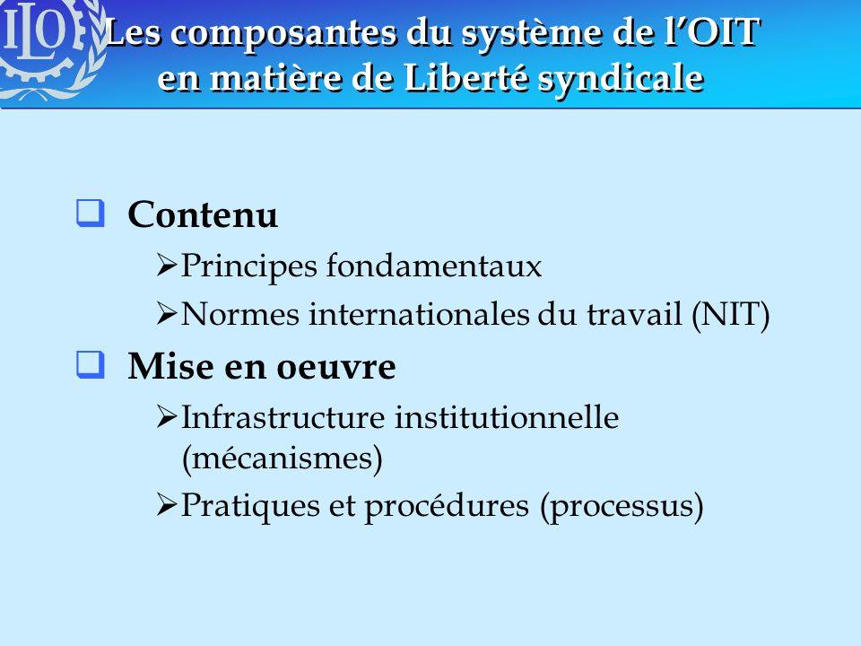 Les composantes du système de lOIT en matière de Liberté syndicale Contenu Principes fondamentaux Normes internationales du travail (NIT) Mise en oeuv