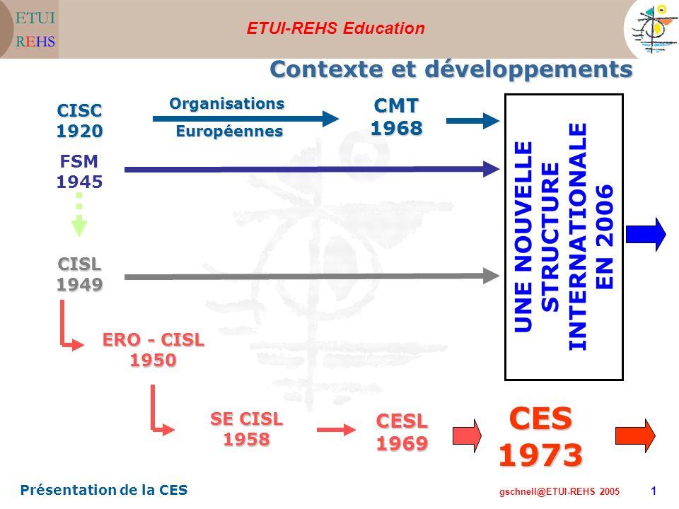 ETUI-REHS Education gschnell@ETUI-REHS 2005 Présentation de la CES 1 CISC1920 FSM 1945 CISL1949 CMT1968Organisations Européennes Européennes ERO - CISL 1950 CESL1969 SE CISL 1958 CES1973 Contexte et développements UNE NOUVELLE STRUCTURE INTERNATIONALE EN 2006