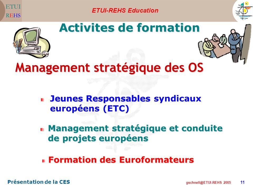 ETUI-REHS Education gschnell@ETUI-REHS 2005 Présentation de la CES 11 Management stratégique et conduite de projets européens Activites de formation Formation des Euroformateurs Jeunes Responsables Responsables syndicaux européens (ETC) Management stratégique des OS