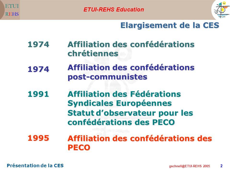 ETUI-REHS Education gschnell@ETUI-REHS 2005 Présentation de la CES 2 Elargisement de la CES 1974 Affiliation des confédérations chrétiennes 1974 Affil
