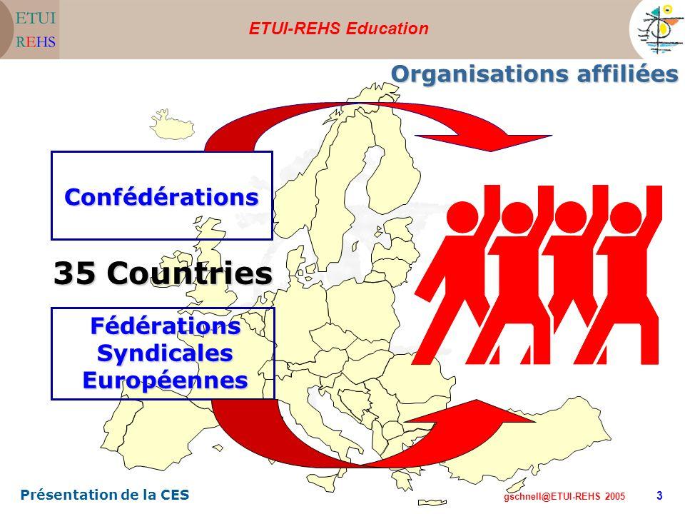 ETUI-REHS Education gschnell@ETUI-REHS 2005 Présentation de la CES 3 Organisations affiliées Confédérations Fédérations Syndicales Européennes 35 Countries