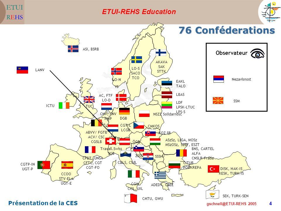 ETUI-REHS Education gschnell@ETUI-REHS 2005 Présentation de la CES 4 Nezavisnost SSM Observateur 76 Conféderations SSSH/ KOZ SR CMTU, GWU SEK, TURK-SEN DISK, HAK-IS KESK, TURK-IS ADEDY, GSEE CGIL CISL, UIL CITUB PODKREPA CCOO STV-ELA UGT-E CGTP-IN UGT-P CFDT- UNSA CFTC, CGT CGT-FO ICTU TUC ASI, BSRB LO-N YS LO-S SACO TCO AKAVA SAK STTK AC, FTF LO-D BNS, CARTEL ALFA CNSLR-Fratia DGB CNV, FNV MHP EAKL TALO LBAS LDF LPSK-LTUC LPS-S NSZZ Solidarnosc Travail.Swiss SGB ABVV/ FGTB ACV/ CSC CGSLB CGT-L LCGB CDLS, CSdL ÖGB CMKOS ASzSz, LIGA, MOSz MSzOSz, SZEF, ESZT ZSSS LANV