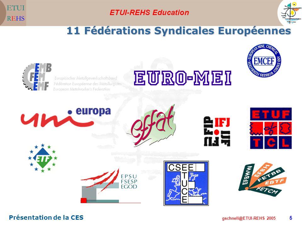 ETUI-REHS Education gschnell@ETUI-REHS 2005 Présentation de la CES 5 11 Fédérations Syndicales Européennes