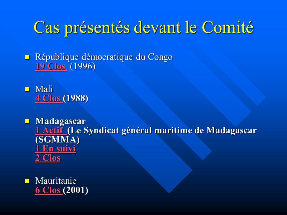 Cas présentés devant le Comité République démocratique du Congo 19 Clos (1996) République démocratique du Congo 19 Clos (1996) 19 Clos 19 Clos Mali 4 Clos (1988) Mali 4 Clos (1988) 4 Clos 4 Clos Madagascar 1 Actif (Le Syndicat général maritime de Madagascar (SGMMA) 1 En suivi 2 Clos Madagascar 1 Actif (Le Syndicat général maritime de Madagascar (SGMMA) 1 En suivi 2 Clos 1 Actif 1 En suivi 2 Clos 1 Actif 1 En suivi 2 Clos Mauritanie 6 Clos (2001) Mauritanie 6 Clos (2001) 6 Clos 6 Clos
