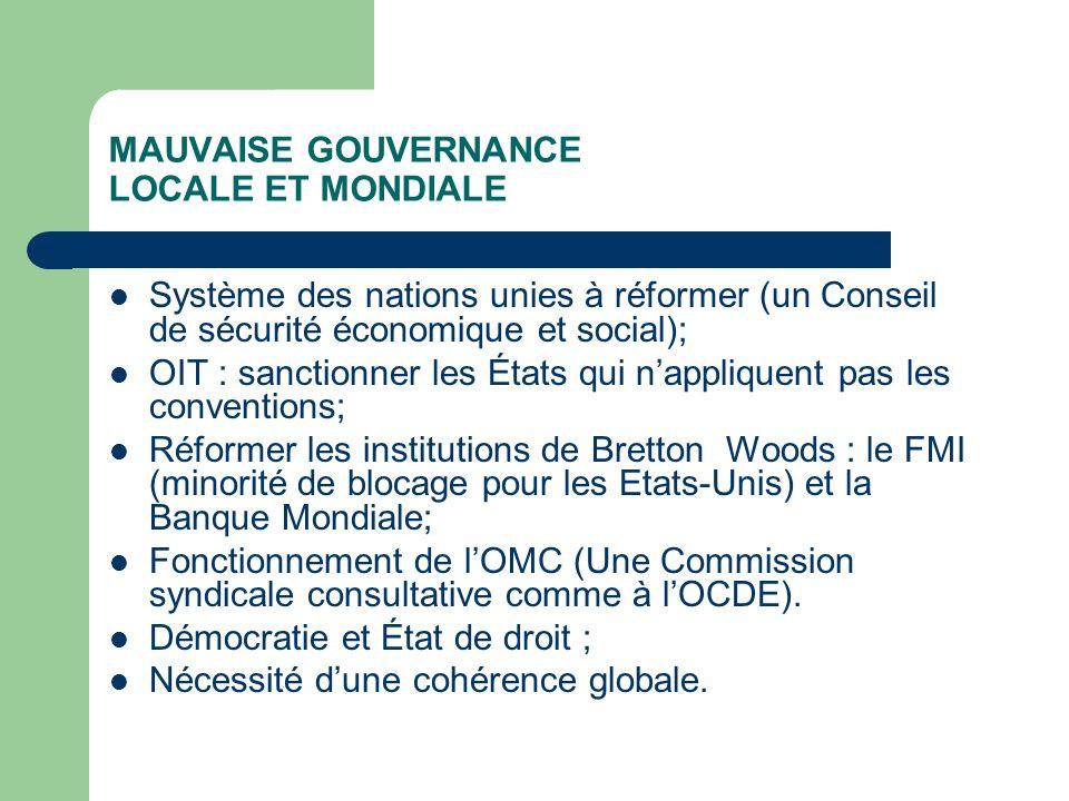 MAUVAISE GOUVERNANCE LOCALE ET MONDIALE Système des nations unies à réformer (un Conseil de sécurité économique et social); OIT : sanctionner les État